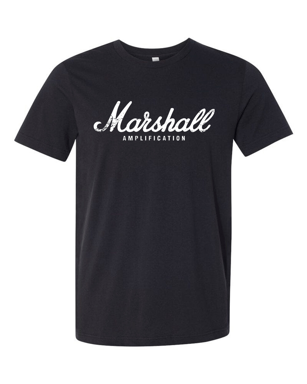 "Marshall Amplification White Distress Logo Bella Canvas T-shirt ""FREE SHIPPING"""