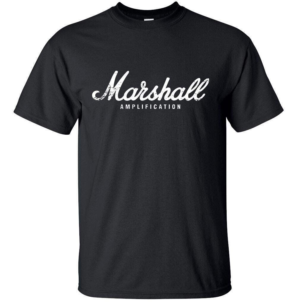 MARSHALL AMPLIFICATION White Distress Logo T-shirt Gildan FREE SHIPPING