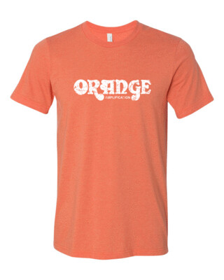 "ORANGE AMPLIFICATION White Distress Logo Bella Canvas T-shirt ""FREE SHIPPING"""