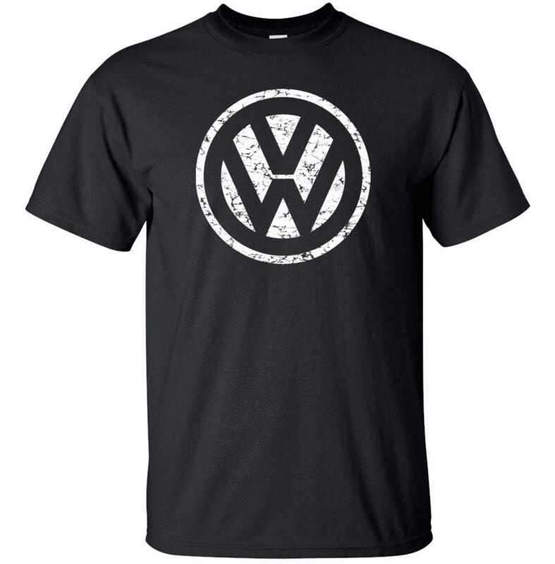 VOLKSWAGON VW White Distress Logo T-shirt Gildan