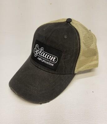 Splawn Amplification Trucker Cap Adams Black with Tan Mesh Vintage Logo