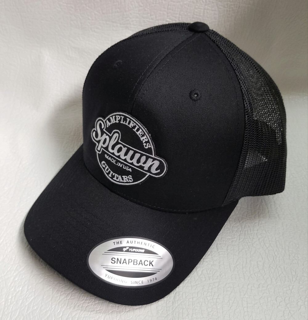 Splawn Amplification Guitars Center Logo Trucker Cap Snapback Black with Black Mesh