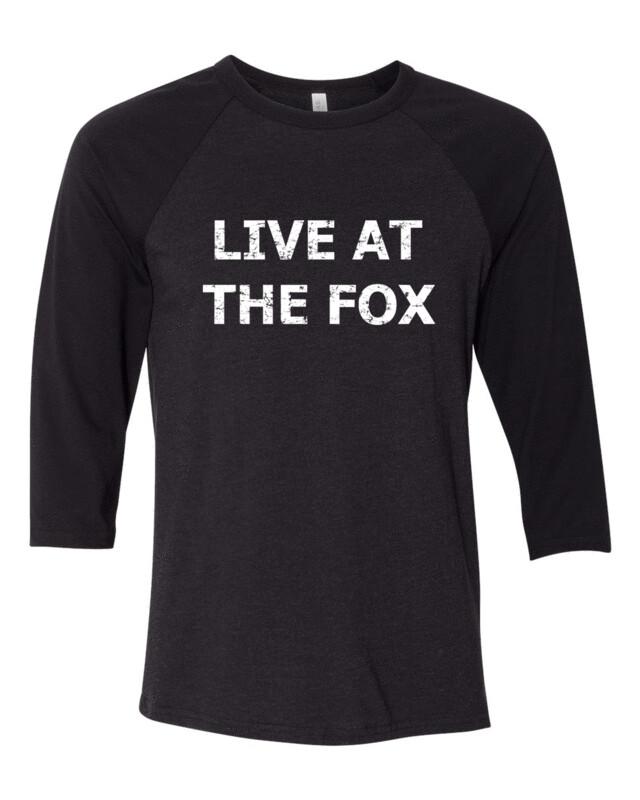 LIVE AT THE FOX White Distress Logo Bella Canvas Base-Ball FREE SHIPPING