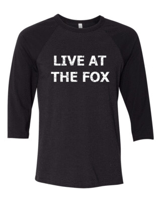 LIVE AT THE FOX White Distress Logo Bella Canvas Base-Ball FREE SHIPPING