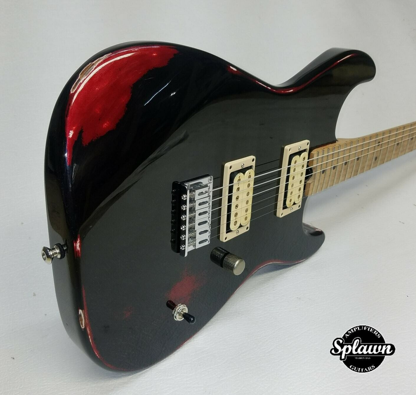 Splawn SS1 Guitar Black over Candy Apple Red Nitro Relic