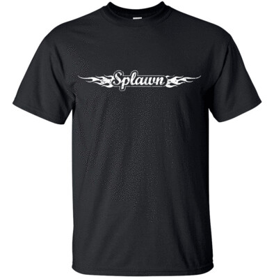 SPLAWN AMPLIFICATION  White FLAME Distress Logo T-shirt Gildan  FREE SHIPPING