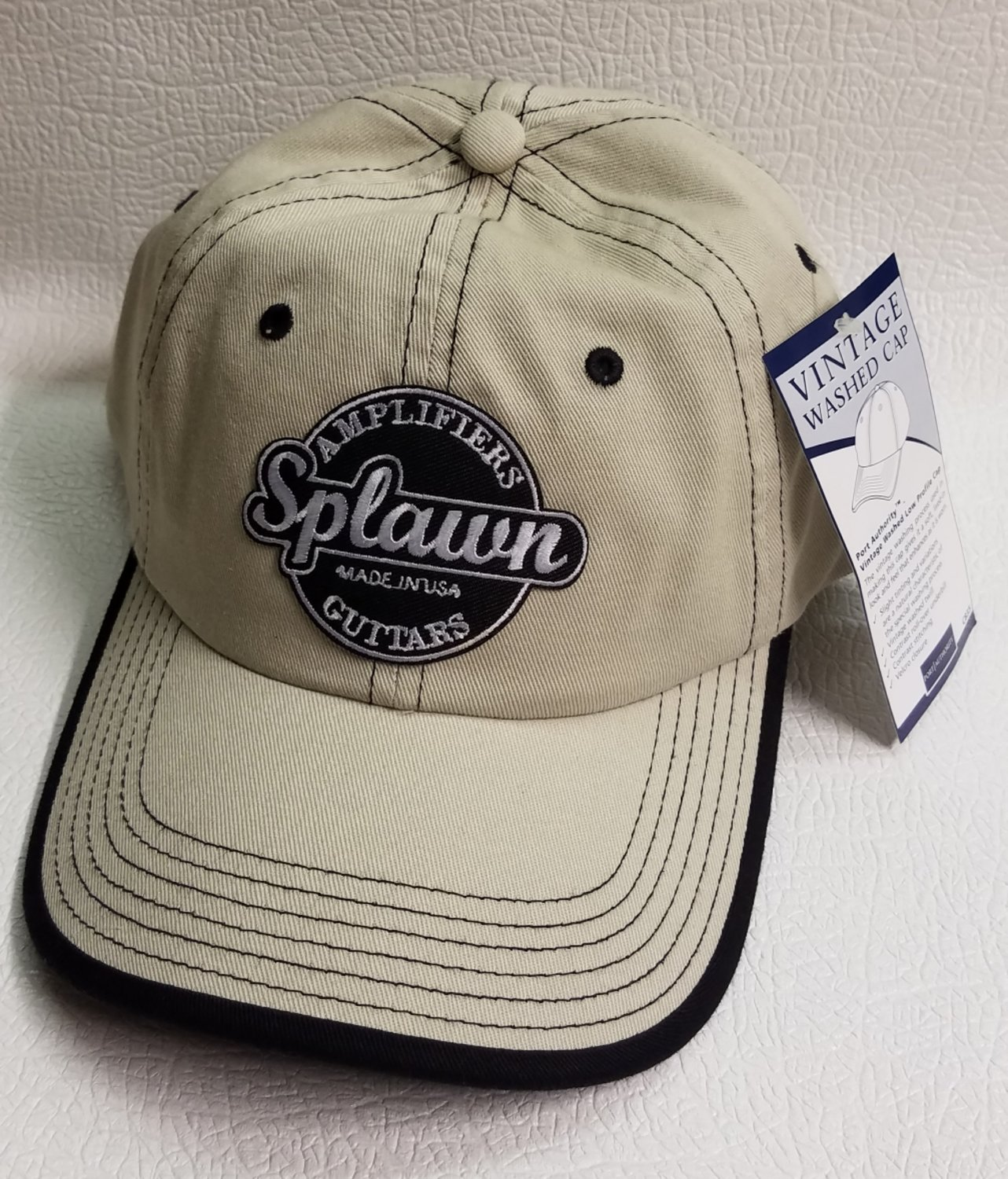 Splawn Amplification Guitars Center Logo Port Authority Cap Vintage Contrast Stitch Stone