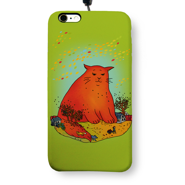 """Чехол пластиковый для айфона 6 Plus/6S Plus """"Красный кот"""" с ланъярдом"""