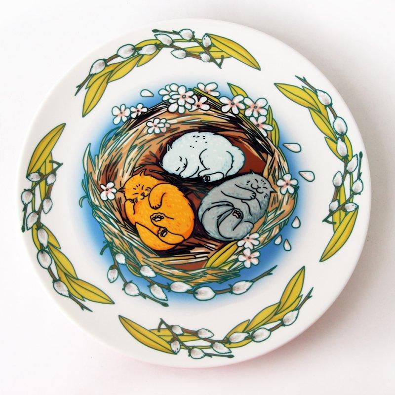 Блюдо декоративное «Весенние коты»