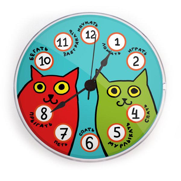 """Часы на магните """"Разноцветные коты"""""""