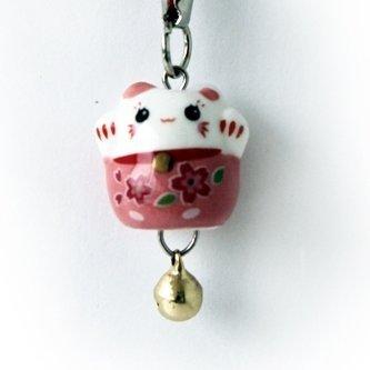 Манеки-неко подвеска розовая  с красными цветами