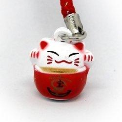 Манеки-неко подвеска-колокольчик с кораблем сокровищ красная