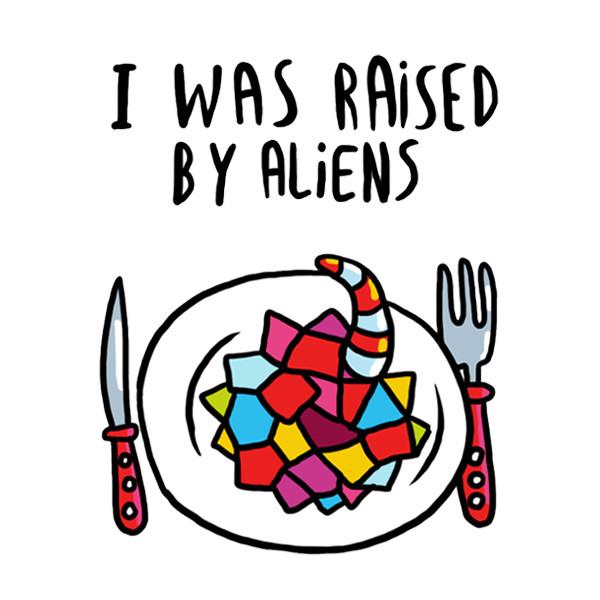 Временное тату I was raised by aliens (2 штуки в наборе)