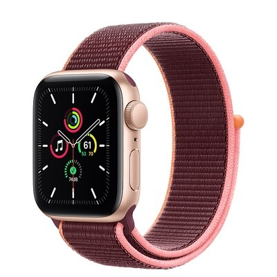 Apple Watch SE, kuldne alumiinium korpus, Sport Loop, Plum