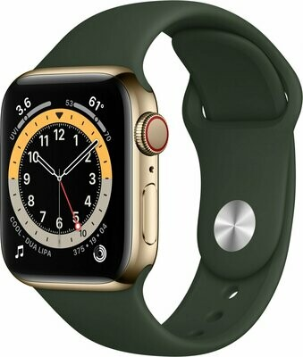 Apple Watch Series 6, Gold Stainless Steel Case, Cypress Green