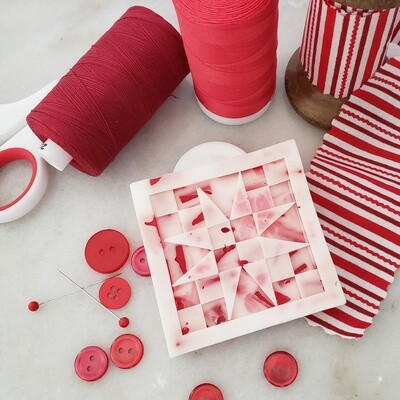 TWO Peppermint Stick Quilt Block Soaps