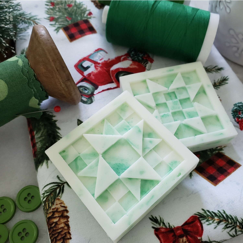 TWO Winter Wonderland Quilt Block Soaps
