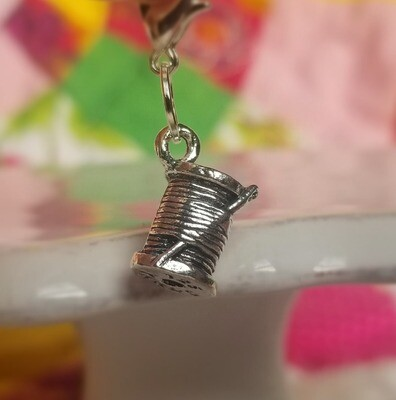 Decorative Silver Spool with Needle Charm