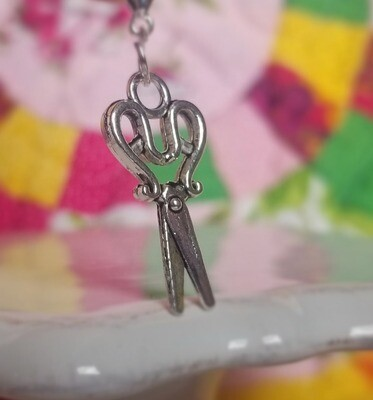 Decorative Curved Handle Silver Scissors Charm