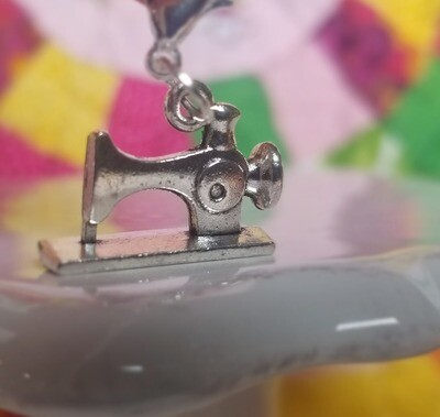 Decorative Silver Straight Lines Sewing Machine Charm