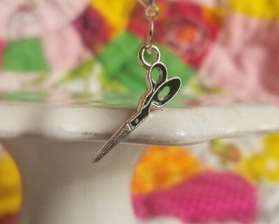 Decorative Silver and Black Scissors Charm