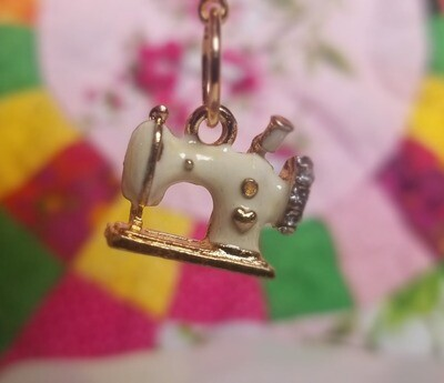 Decorative Metal White Sewing Machine Charm