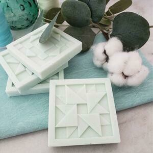 TWO Linen Breeze Quilt Block Soap