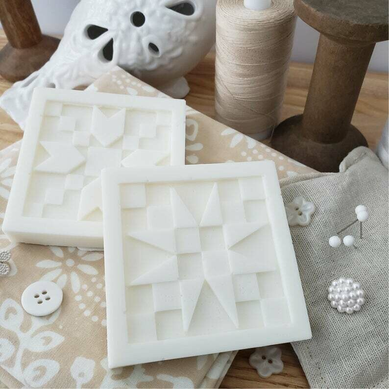TWO Italian Almond Cookie Quilt Block Soaps