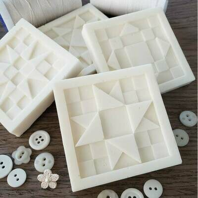 Two French Vanilla Buttercream Quilt Block Soaps