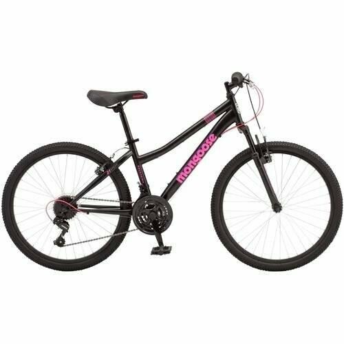 "CE-112 BICICLETA Mongoose Excursion Mountain Bike 24"" Black/Pink (Negro/Rosado) - CARIBE"