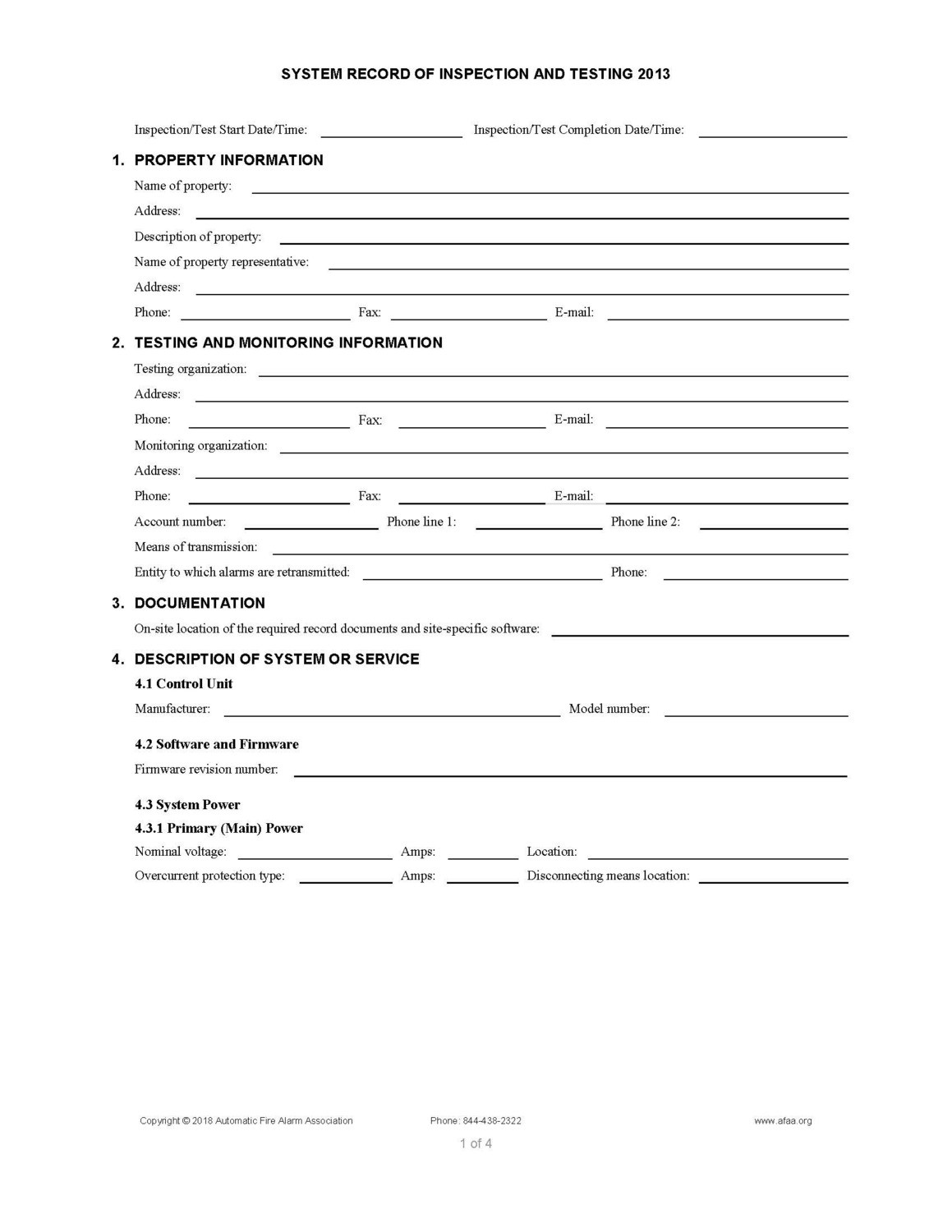 Fire Alarm Inspection and Testing Forms - 2013 Edition