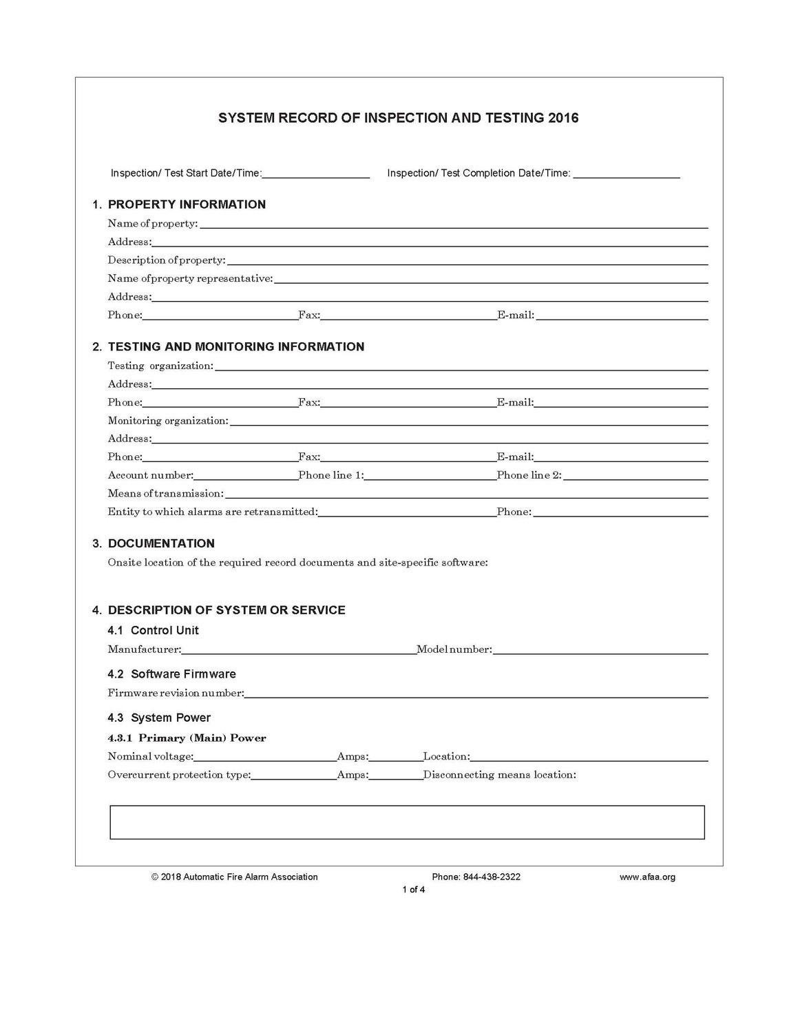 Fire Alarm Inspection and Testing Forms - 2016 Edition