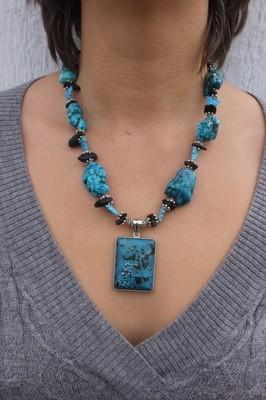 Flower Jasper Pendant on Turquoise & Tektite Necklace