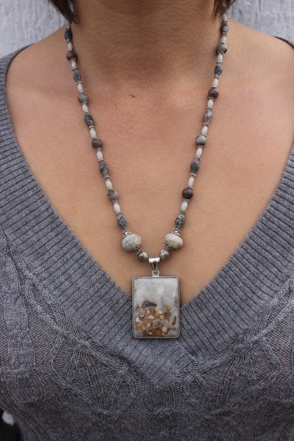 Rectangular Flower Jasper Pendant