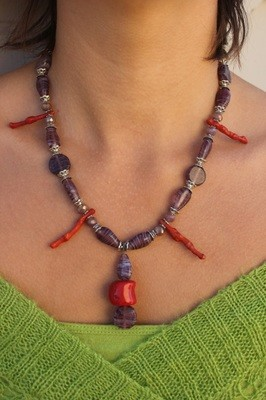 Coral with Purple Beads Necklace