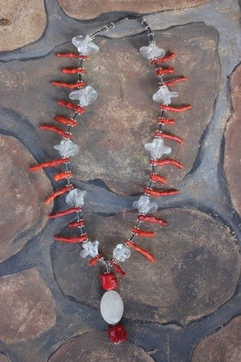 Coral, Hematite, & Glass Necklace