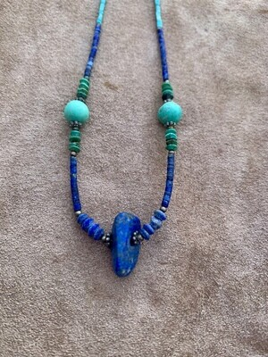 Delicate Lapis Lazuli, Turquoise, & Jade Necklace
