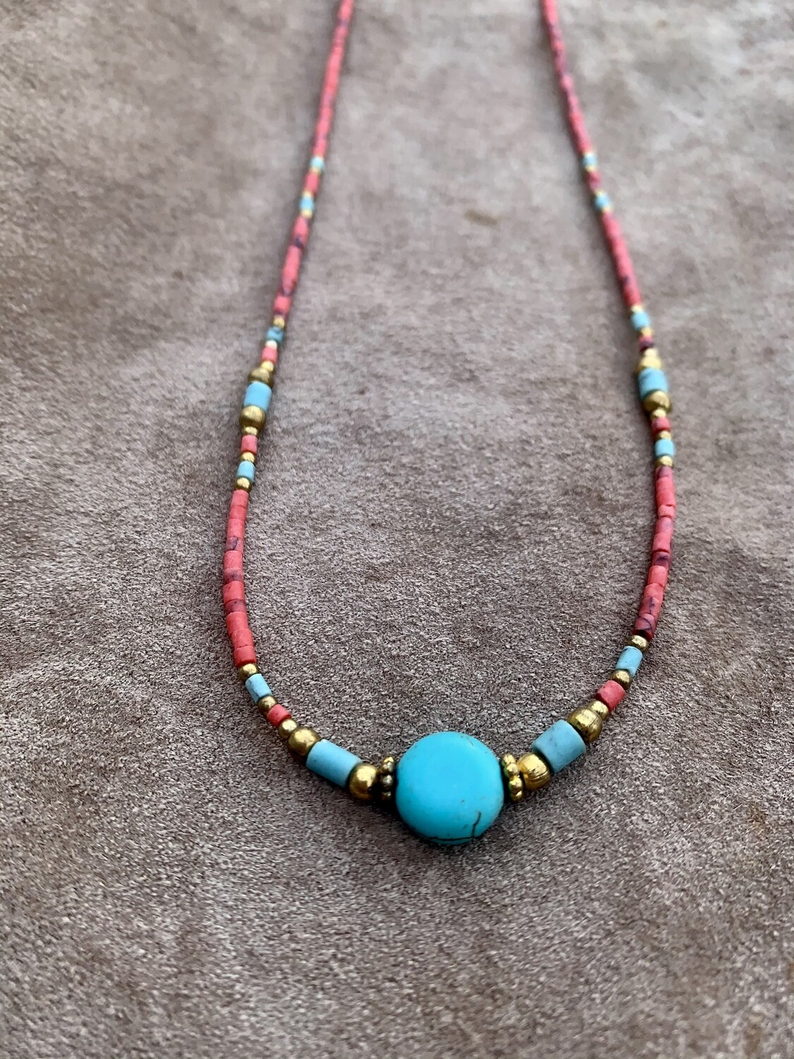Delicate Turquoise & Coral Necklace