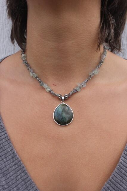 Round Labradorite on Fluorite Necklace