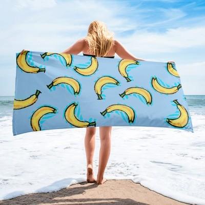 Blue Ocean Bananas Towel