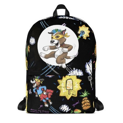 Mango's Superhero Chef Mania ( Black)  Backpack