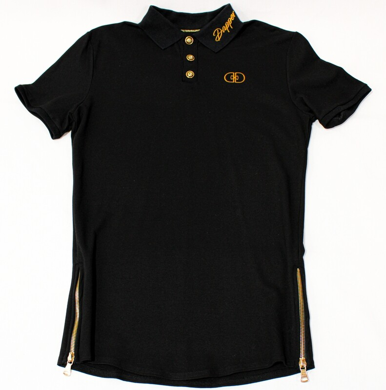 """""""Luxxe"""" Polo in black/gold"""