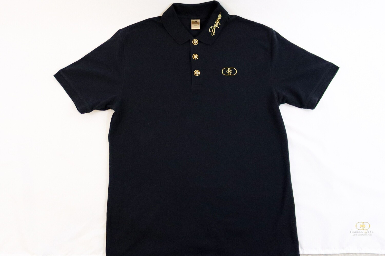 """Prestige"" Pique Polo in Black/Gold"