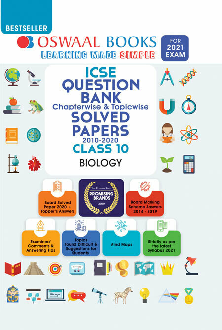 Oswaal ICSE Question Bank Class 10 Biology Book Chapterwise & Topicwise (For 2021 Exam)