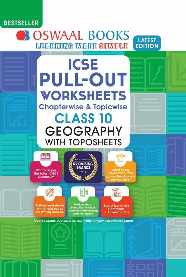Oswaal ICSE Pullout Worksheets Chapterwise & Topicwise, Class 10, Geography (For 2021 Exam)