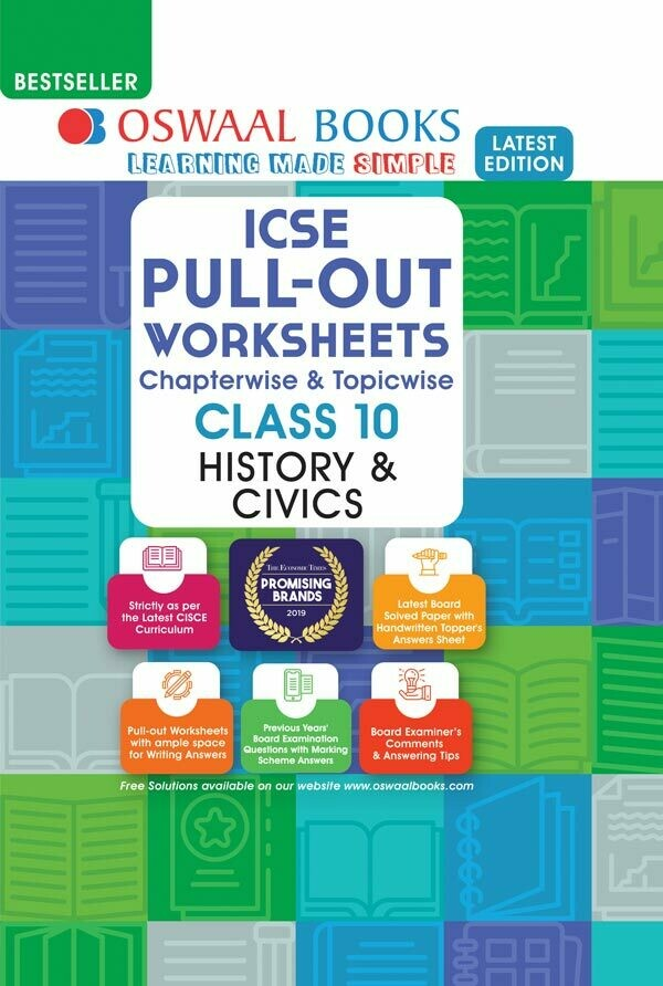 Oswaal ICSE Pullout Worksheets Chapterwise & Topicwise, Class 10, History & Civics (For 2021 Exam)