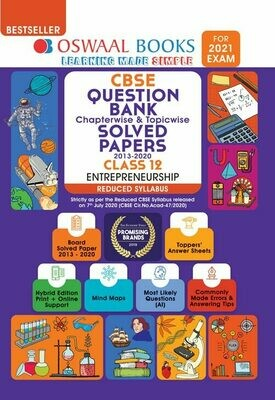 REDUCED SYLLABUS Oswaal CBSE Question Bank Class 12 Entreprenurship, Chapterwise & Topicwise Solved Papers, (Reduced Syllabus) (For 2021 Exam)