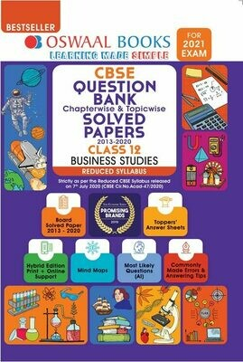 REDUCED SYLLABUS Oswaal CBSE Question Bank Class 12 Business Studies, Chapterwise & Topicwise Solved Papers, (Reduced Syllabus) (For 2021 Exam)