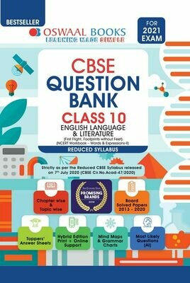 REDUCED SYLLABUS Oswaal CBSE Question Bank Class 10 English Language & Literature (Reduced Syllabus) (For 2021 Exam)