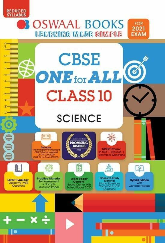 REDUCED SYLLABUS Oswaal CBSE One for All, Science, Class 10 (Reduced Syllabus) (For 2021 Exam)